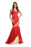 Jeune femme dans la robe rouge Photo libre de droits