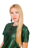 Jeune femme dans la robe verte d'isolement sur le blanc Photographie stock libre de droits