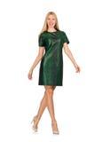 Jeune femme dans la robe verte d'isolement sur le blanc Photo libre de droits
