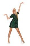 Jeune femme dans la robe verte d'isolement sur le blanc Photos libres de droits