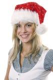 Jeune femme dans le capuchon Santa Photo libre de droits