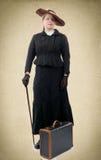 Jeune femme dans le costume 1900's de vintage Images libres de droits