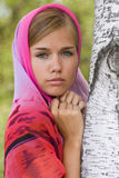 Jeune femme dans le foulard. Alenushka. Photo stock