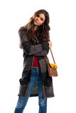 Jeune femme dans le survêtement rayé Photos stock
