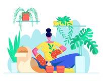 Jeune femme dans les gants replantant la fleur domestique dans un autre pot Le botaniste Planting Houseplant, cultivent des herbe illustration stock