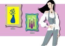 jeune femme dans une galerie d'art Images libres de droits