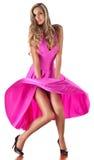 Jeune femme dans une robe rouge Photos stock