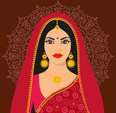 Jeune femme de beau brunette indien dans le sari coloré Illustration Libre de Droits