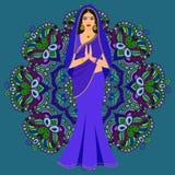 Jeune femme de beau brunette indien dans le sari coloré Illustration de Vecteur