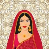 Jeune femme de beau brunette indien dans le sari coloré Illustration Stock