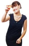 Jeune femme de beauté avec du vin sur la réception Images stock