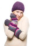 Jeune femme de beauté dans un chapeau chaud Photo libre de droits