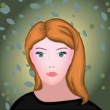 Jeune femme de beauté de vecteur roux Images stock