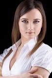 Jeune femme de beauté - verticale sérieuse d'affaires Photographie stock libre de droits