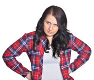 Jeune femme de brune faisant l'expression du visage Image libre de droits