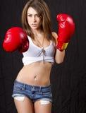 Jeune femme de brunette avec les gants de boxe rouges Photographie stock