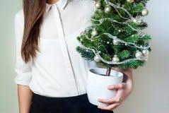 Jeune femme de bureau tenant un petit arbre de Noël Image libre de droits