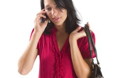 Jeune femme de carrière parlant sur un portable Photographie stock libre de droits