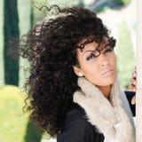 Jeune femme de couleur, coiffure Afro, à l'arrière-plan urbain Photos stock