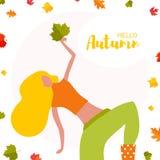 Jeune femme de danse avec la feuille d'automne illustration de vecteur