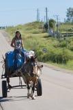 Jeune femme de gaucho et chariot hippomobile sur la route, Uruguay Photos stock