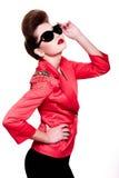 Jeune femme de mode avec le renivellement lumineux Image libre de droits