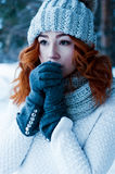Jeune femme de mode dans la forêt d'hiver Photo stock