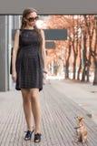 Jeune femme de mode, marchant son chien dans la rue Images stock