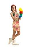 Jeune femme de nettoyage Photographie stock libre de droits