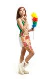 Jeune femme de nettoyage Image libre de droits
