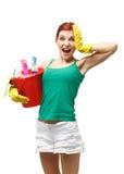 Jeune femme de nettoyage Photographie stock