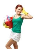 Jeune femme de nettoyage Photos stock
