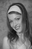Jeune femme de rétro type de cru en noir et blanc Photo libre de droits