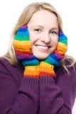 Jeune femme de rire de beauté dans les gants colorés Photographie stock libre de droits