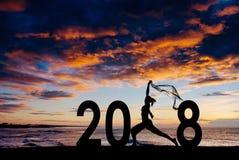 Jeune femme de silhouette sautant à 2018 nouvelles années Photo libre de droits