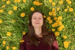 Jeune femme de sourire avec les yeux fermés détendant sur un pré avec le soleil de beaucoup de pissenlits au printemps Le dessus  photos libres de droits