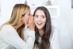 Jeune femme de sourire disant le secret à l'ami Photographie stock