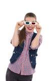 Jeune femme de sourire en verres 3d Photos stock