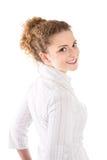 Jeune femme de sourire - femme d'isolement sur le fond blanc images libres de droits