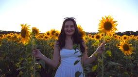 Jeune femme de sourire jouant avec le tournesol au champ sous le ciel bleu au coucher du soleil Fille drôle se cachant derrière d clips vidéos