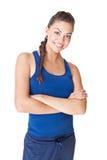 Jeune femme de sport d'isolement sur le fond blanc Photographie stock libre de droits