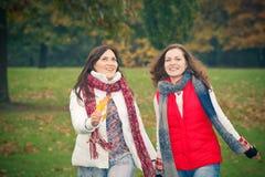 Jeune femme deux marchant en stationnement d'automne Image stock
