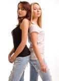 Jeune femme deux sinueuse reculant Images libres de droits