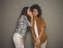 Jeune femme disant à son ami quelques secrets Photographie stock libre de droits