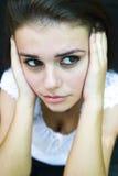 Jeune femme distraite   Image libre de droits
