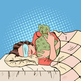 Jeune femme dormant dans le lit avec le sac d'argent Illustration d'art de bruit rétro illustration libre de droits