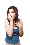 Jeune femme effrayée Photographie stock libre de droits