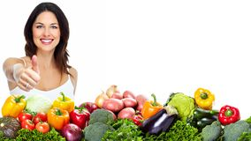 Jeune femme en bonne santé avec des fruits. Image stock