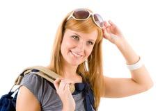 Jeune femme en verticale marine de mode d'équipement Photographie stock libre de droits