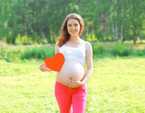 Jeune femme enceinte de sourire heureuse montrant le grand coeur de papier Photographie stock libre de droits